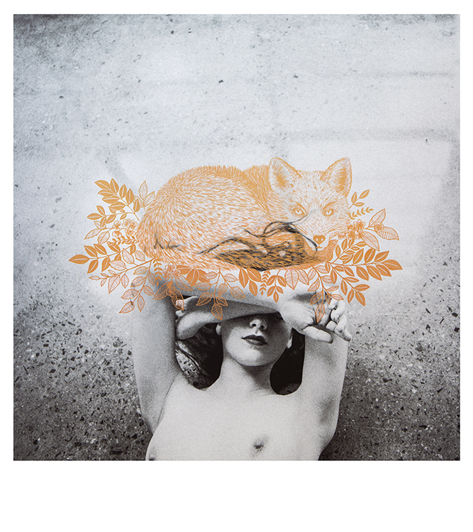 black and white image of woman with gold fox painted