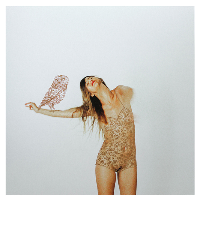 FEMME exhibition blurred woman dancing with gold lingerie and owl painted