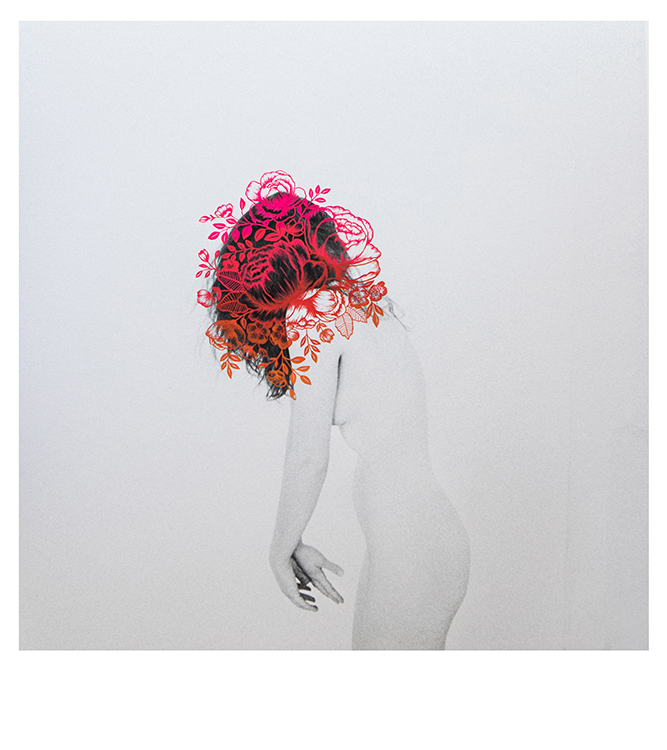 FEMME Exhibition Double Exposure Photographed Female Nude with Pink Ombre Florals in Hair Illustration