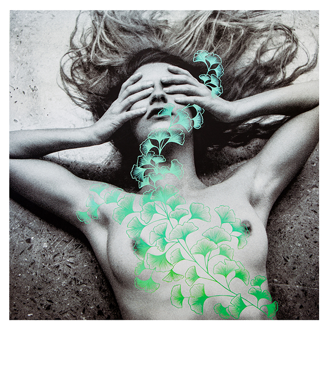 FEMME Exhibition Double Exposure Photographed Female Nude with Ombre Green Genko Leaves Illustration