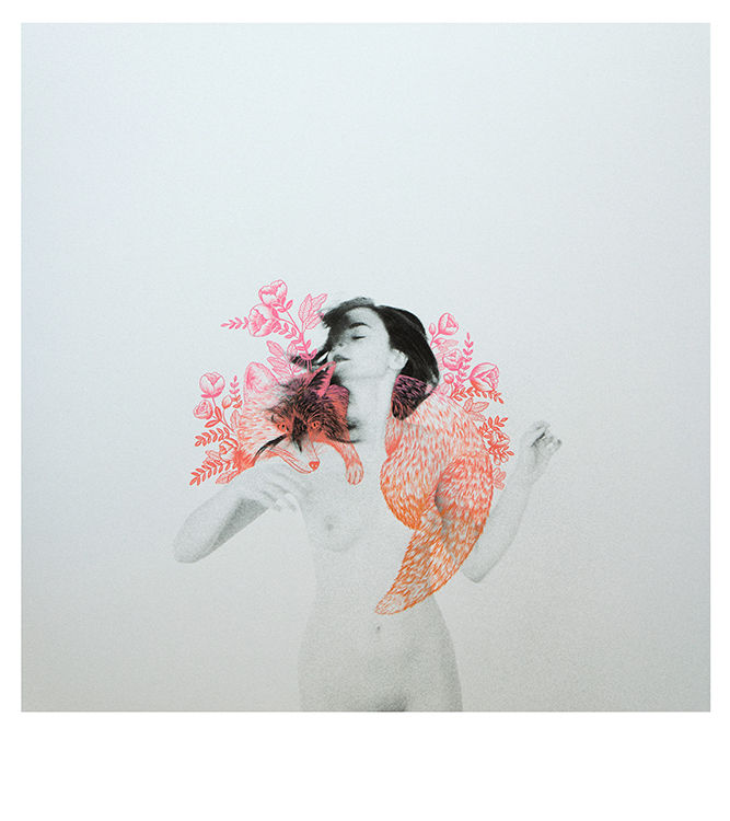 FEMME Exhibition Double Exposure No.20 Photographed Female Nude Dancing with Ombre Pink & Peach Floral & Wolf Illustration