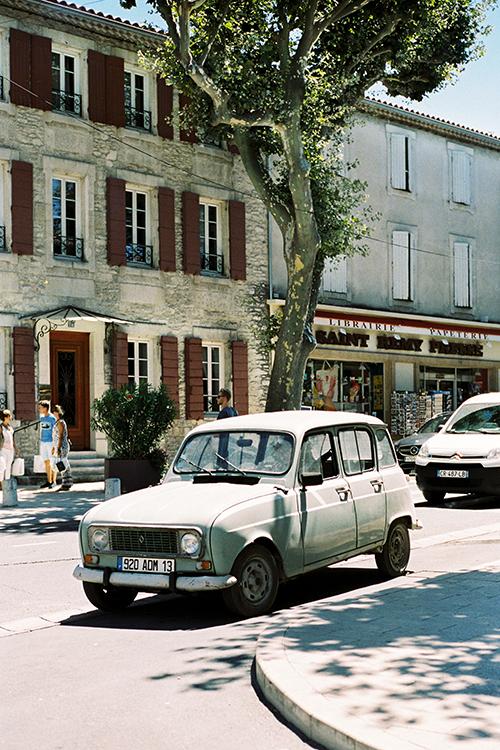 Colour 35mm frame of a vintage Renault in D'Avignon France.